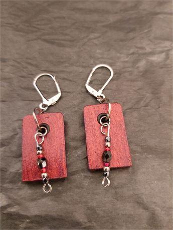 Hand Made Wood Earrings Set
